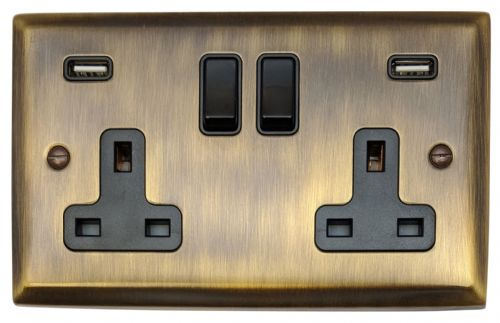 G&H SAB910B Spectrum Plate Antique Bronze 2 Gang Double 13A Switched Plug Socket 2.1A USB